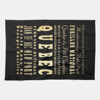 Quebec City of Canada Typography Art Kitchen Towel