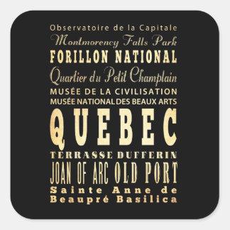 Quebec City of Canada Typography Art Square Sticker