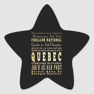 Quebec City of Canada Typography Art Star Sticker