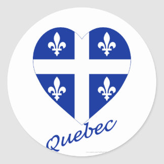 Quebec Flag Heart with Name Round Sticker
