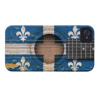 Quebec Flag on Old Acoustic Guitar iPhone 4 Case