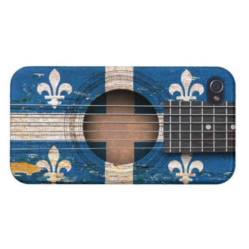 Quebec Flag on Old Acoustic Guitar iPhone 4 Covers