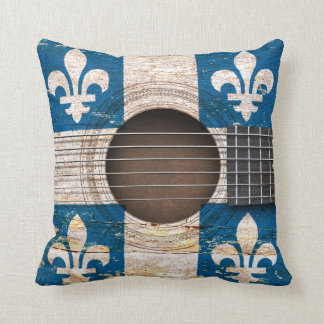 Quebec Flag on Old Acoustic Guitar Throw Pillow