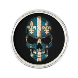 Quebec Flag Skull Lapel Pin