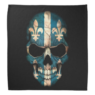 Quebec Flag Skull on Black Bandana