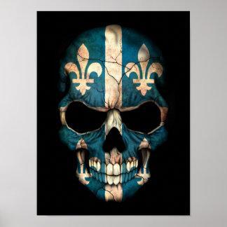 Quebec Flag Skull on Black Poster