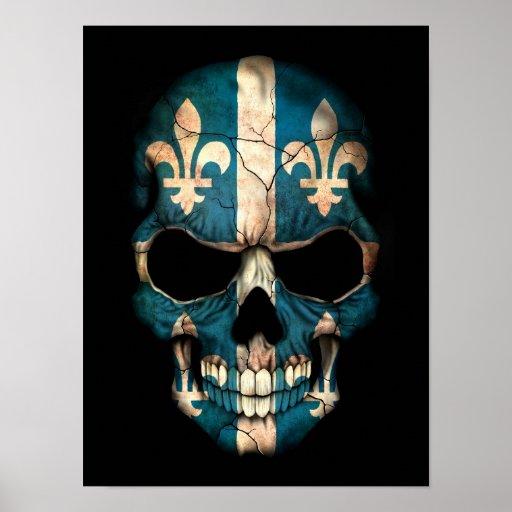 Quebec Flag Skull on Black Print