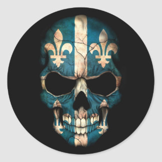 Quebec Flag Skull on Black Round Sticker