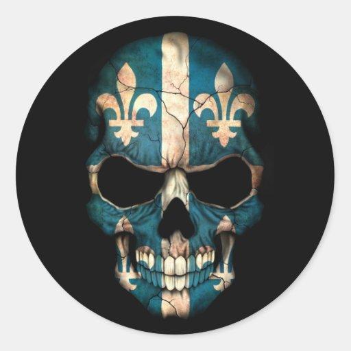 Quebec Flag Skull on Black Sticker