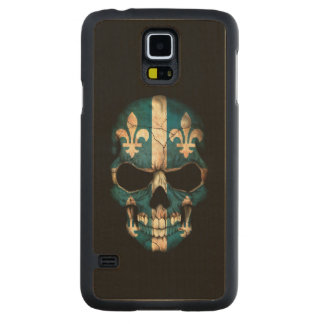 Quebec Flag Skull on Black Carved® Maple Galaxy S5 Case