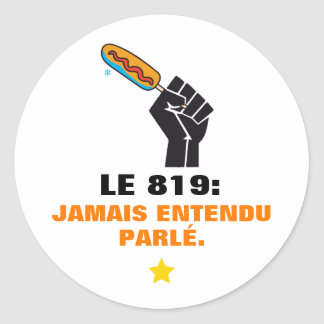 Quebec humour 819 captions urban middle-class man classic round sticker