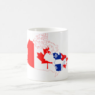 Quebec in Canada flag, map Coffee Mug