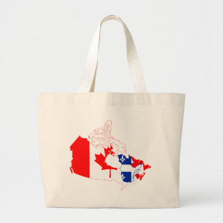 Quebec in Canada flag, map Large Tote Bag