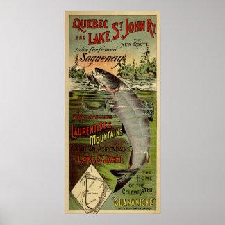 Quebec & Lake St-John Railway Ancient Advertising Poster