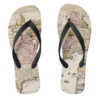 Quebec/Nouvelle-France medieval french map America Flip Flops