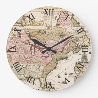 Quebec/Nouvelle-France medieval french map America Large Clock