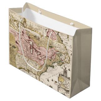 Quebec/Nouvelle-France medieval french map America Large Gift Bag