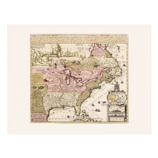 Quebec/Nouvelle-France medieval french map America Postcard
