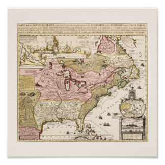 Quebec/Nouvelle-France medieval french map America Poster