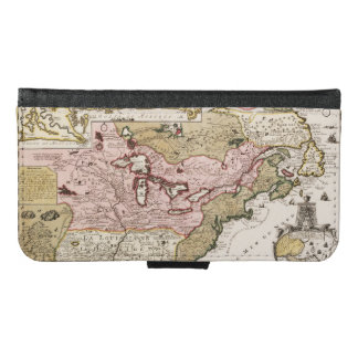 Quebec/Nouvelle-France medieval french map America Samsung Galaxy S6 Wallet Case