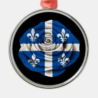 Quebec Rose Flag on Black Metal Ornament