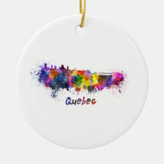 Quebec skyline in watercolor ceramic ornament