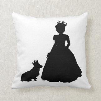 Queen and Corgi silhouette pillow Elizabeth II