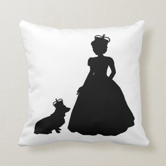 Queen and Corgi silhouette pillow Elizabeth II