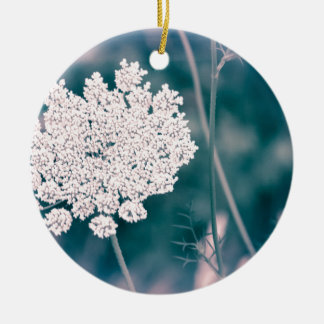 Queen Anne Lace Flower Round Ceramic Ornament