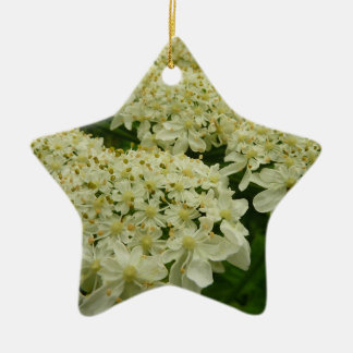 Queen Anne's Lace White Wildflower Ceramic Ornament