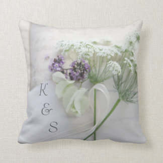 Queen Anne's lace with script Throw Pillow