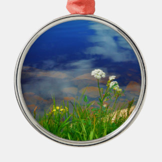 Queen Ann's lace flowers, blue mountain lake Silver-Colored Round Ornament