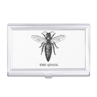 Queen Bee Black and White Illustration Business Card Holder