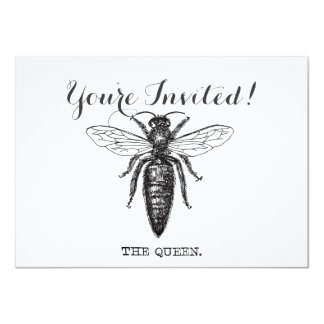 Queen Bee Black and White Illustration Card