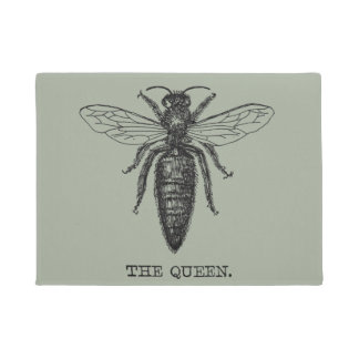 Queen Bee Black and White Illustration Doormat