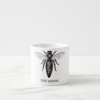 Queen Bee Black and White Illustration Espresso Cup