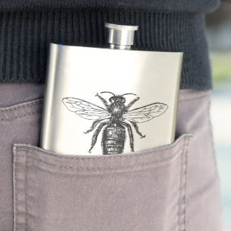 Queen Bee Classic Illustration Hip Flask