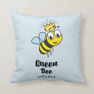 Queen Bee Cute Bumble Bee with Crown Throw Pillow