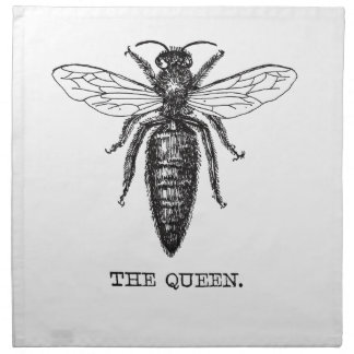 Queen Bee Drawing Vintage Black Napkin