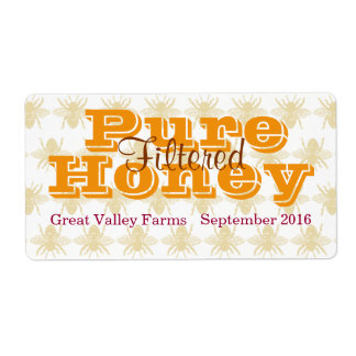 Queen Bee Filtered Honey Jar Shipping Label