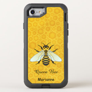 Queen Bee Honeybee Honeycomb Pretty | Add Name OtterBox Defender iPhone 8/7 Case