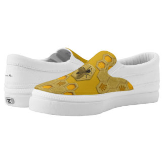 Queen Bee Honeycomb Golden Yellow Zipz Slip-ons