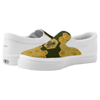Queen Bee Honeycomb Olive Green Zipz Slip-ons
