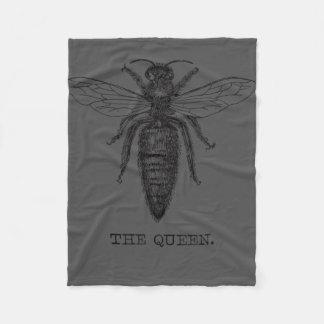 Queen Bee Illustration Black White Fleece Blanket
