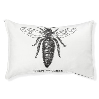 Queen Bee Illustration Black White Pet Bed