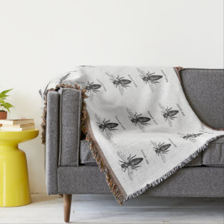 Queen Bee Illustration Black White Throw Blanket