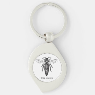 Queen Bee Illustration Vintage Keychain