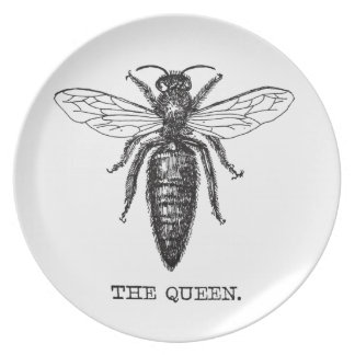 Queen Bee Illustration Vintage Party Plate