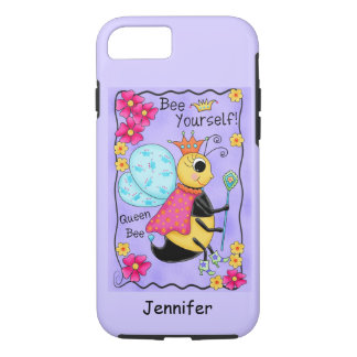 Queen Bee Lavender Honey Bee Art Personalized iPhone 7 Case