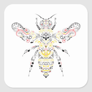 queen bee square sticker